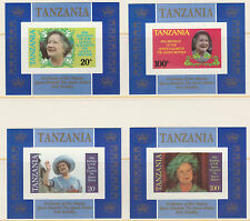 Tanzania 5091 - 1985 QUEEN MOHER   set of 4 imperf deluxe sheets unmounted mint