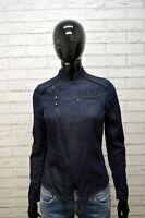 G-STAR Donna Giacca Giubbino Jeans Cotone Lino Taglia XS Jacket Woman Blu Denim