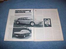 1969 Monteverdi Automobiles Vintage Profile Article 2000 GTI 375L