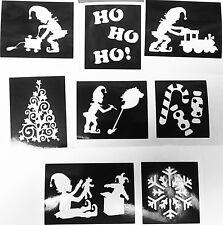 ALBERO di Natale Stencil Elfi GLITTER TATUAGGI AEROGRAFO facepainting