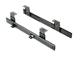 1pair Emuca 4193409 Height Adjustable Ball Bearing Keyboard Shelf Runner - Black