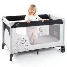 Baby Reisebett / Kinderreisebett Giraffe (mit Rollen, Matratze, Einstieg) - Grau
