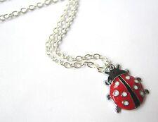 Chicas Lindas Negro & rojo esmalte Ladybird Mariquita Collar Nuevo En Bolsa De Regalo