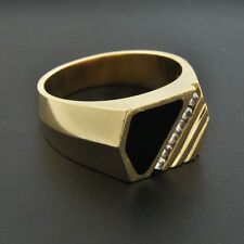 Vintage 1980s 14k Solid Gold Mens Ring Accents CZs and Genuine Onyx  Size 10 3/4