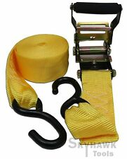 "2""X22' RATCHET TIE DOWN/HOOKS 2,500 lbs 2"" wide nylon weather-res webbing strap"
