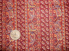 "Vintage Cotton Fabric BLUE & GOLD PAISLEY STRIPE ON BRICK RED 34""/41"" Wide"