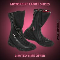Women Motorbike Motorcycle Racing Leather Shoes Waterproof Touring Boot Armoured