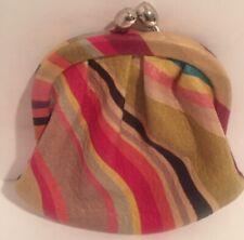 Paul Smith Multi Color Stripe Leather Coin Change Purse Kiss Lock # 1757