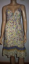 MONSOON FUSION Yellow Multi Colour Floral  Strappy Lined Summer Dress Size 8