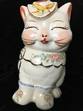 RARE 1940s Shawnee Pottery Puss n Boots Cookie Jar Gold Trim and Flower Decals