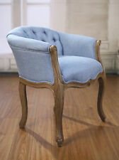 Dining Chair French Provincial Oak Button Bedroom Chair Linen Blue Hardwood New