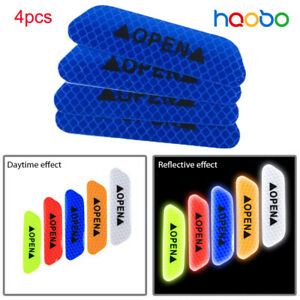 4x Car Open Sticker Reflective Tape Warning Safety Auto Decal  Sticker Blue