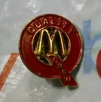 Vintage Rare Q Quality Crew McDonalds Logo Employee Gold Toned Button Brooch Pin