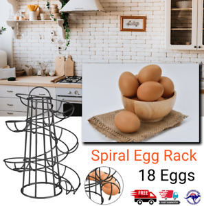 Spiral Kitchen Storage Helter Skelter Egg Holder Stand Rack Holder 18 Eggs Black