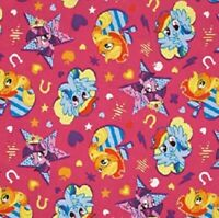 FLANNEL: Pony Cutie Toss Hot Pink  by Springs Creative Cotton Fabric BTY