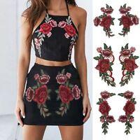 de bricolaje La costura Bordados apliques Placa Red Rose Flower parches