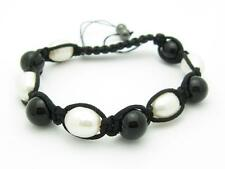 Shamballa Design Macrame Pearl & Onyx Bead Stackable Bracelet Unique Gift Idea
