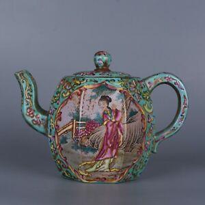 Antique Chinese Enamel Figure and Landscape Yixing Zisha Clay Teapot