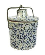 Vintage Crock Ceramic Blue Speckle Pottery Baling Wire Locking Lid 4""