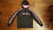 Adidas Women's Pink Black Zipper Hoodie Jackets Sweatshirts Tops M