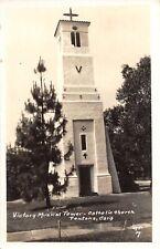 G77/ Fontana California Postcard RPPC c40s Victory Musical Tower Catholic 2