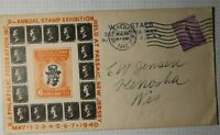 Philatelic Federation Annual Stamp Expo Passaic NJ 1942 Penny Block Cachet Cover