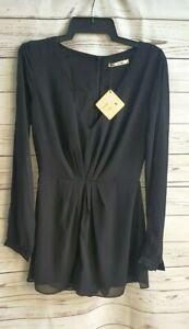 SLIDE SHOW womens size S split sleeve playsuit romper black NWT long sleeve #335