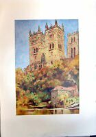 Original Old Antique Print Architecture Durham Cathedral Western Towers Colour