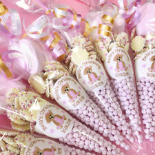 Pre-filled Personalised PINK CHRISTENING Sweet Cones TEDDY BEAR STICKER