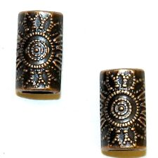MB3134L2 Antiqued Copper Dotted Flower 14mm Flat Oval Tube Metal Beads 25pc