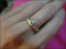 Band 14k yellow gold rings,one set with Emerald.Handmade unique gift/wedding