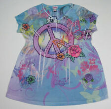 JUSTICE GIRLS SIZE 14 TOP PEACE SYMBOL BUTTERFLY FLOWERS ROSES COLORFUL SHIRT