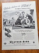 1942 Weather-Bird Shoes Ad  Children Racing Soap Box Derby Cars