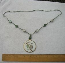 Fine REPUBLIC Period CHINESE Enamel PORCELAIN PENDANT NECKLACE-Green Cord-NR