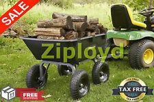 Lawn Tractor Yard Dump Cart Garden Wagons Utility Wheelbarrow Trailer Lawn Mower