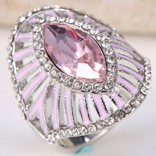 Natural 3CT Pink Sapphire Ring 925 Silver Women Wedding Engagement Size 6-10