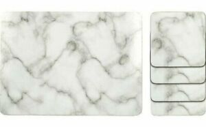 Marble Effect Placemat And Coaster Set Of 8 Table Mats Dining Coasters Tableware