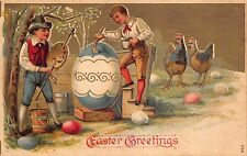 Easter Postcard Chickens Watching Boys Painting Eggs~113879