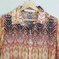 [ ELLIS & DEWEY White Label ] Womens Print Blouse Top    Size M or AU 12 / US 8