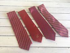Mens Necktie Tie Lot Red Hilfiger Jos A Banks Daniel de Fasson Michael Bruce 4 p