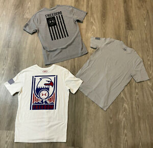 LOT Of 3 Under Armour USA Freedom USA Military T Shirt Workout Gym Size Medium