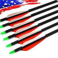 "US 6pcs 30"" Carbon Arrows Shooting Archery Spine 500 for Compound & Recurve Bow"