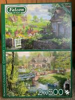 Falcon De Luxe 'Romantic Countryside Cottages' 2x 500 Piece Jigsaw Puzzles