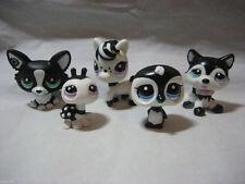 LITTLEST PET SHOP LOT BLACK/WHITE,PONY 2247,PENGUIN 2244,Corgi 2245,HUSKY 2246