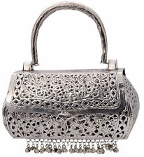 Judith Leiber Swarovski Silver Plated Crystals Evening Bag Clutch  New Authentic