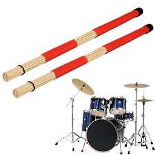 Pair of Jazz Drum Brushes Red Rubber Handle with White Nylon Drum Brush F5