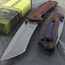 "8.75"" BUCKSHOT TANTO WOOD SPRING ASSISTED FOLDING POCKET KNIFE Tactical EDC Open"