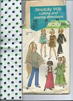 "S 9138 sewing pattern 17½"" Crissy Velvet 70's DOLL CLOTHES + sew polka dot Cloth"