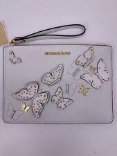 Neu Luxury Original Michael Kors Clutch Portmenee Tasche Leder Damen Bag weiss