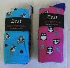 Zest Cotton Rich Ladies Novelty Socks (UK Size 4-8) - 2 Designs